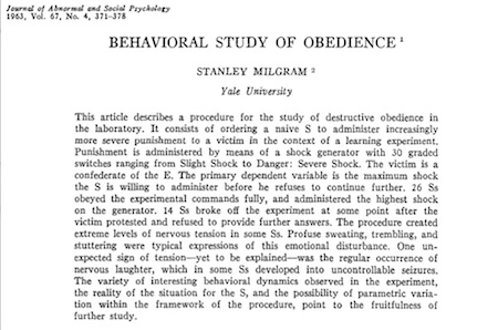 Abstract 'Behavioral Study of Obedience' by Stanley Milgram